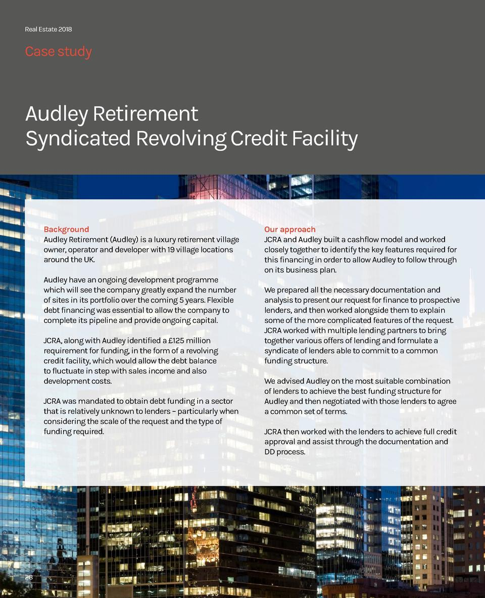 Real Estate 2018  Case study  Audley Retirement Syndicated Revolving Credit Facility  Background Audley Retirement  Audley...