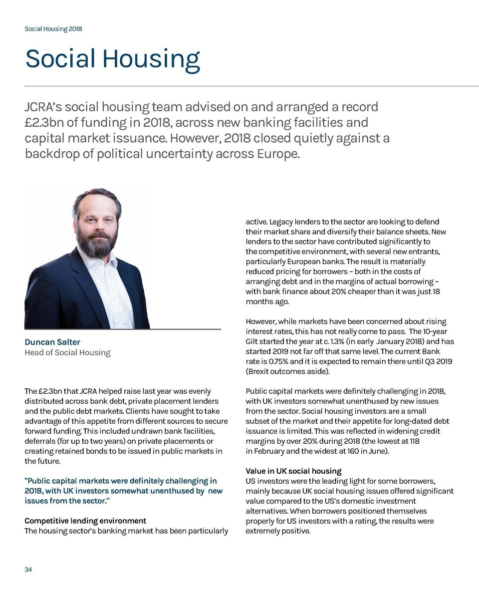 Social Housing 2018  Social Housing 2018  Social Housing JCRA   s social housing team advised on and arranged a record   2...
