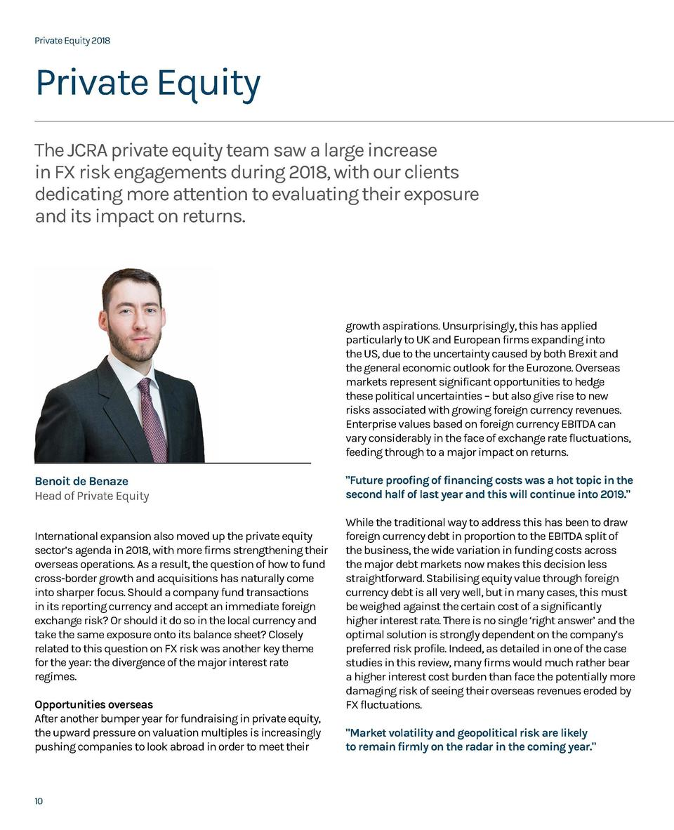 Private Equity 2018  Private Equity 2018  Private Equity The JCRA private equity team saw a large increase in FX risk enga...